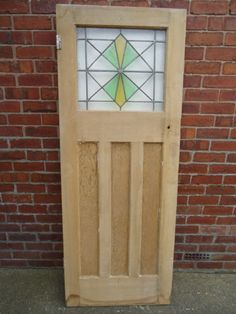 1930s ART DECO INTERNAL DOOR WITH ORIGINAL STAINED GLASS DN22 Area