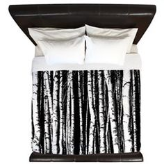 Artistic Birch Trees in black and white King Duvet