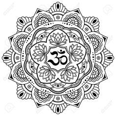Modello circolare sotto forma di un mandala. OM simbolo decorativo. stile Mehndi. motivo decorativo in stile orientale con l'antico mantra OM indù. modello tatuaggio all'hennè in stile indiano. Archivio Fotografico - 75978218