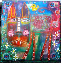 """""""Will Somebody Please Put That Bird In Its Cage"""" #OutsiderArt #mixedmedia #traceyannfinley"""