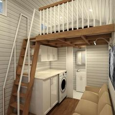 The Adventurer - metre tiny house is designed for those that want a bit more space in their tiny home. With two lofts and a full size U-shaped kitchen the Adventurer is perfect for those who need a bit more room than the typical tiny house. Small Room Design, Tiny House Design, Tiny Farm, Casa Loft, Tiny Cabins, Attic Renovation, Attic Remodel, Tiny House Movement, House Stairs