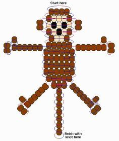 Monkey pony bead, Animals are fed at home, at the office and in a Pony Bead Projects, Pony Bead Crafts, Beaded Crafts, Beaded Ornaments, Pony Bead Animals, Beaded Animals, Pony Bead Patterns, Beading Patterns, Bracelet Patterns