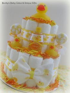 Duck Diaper Cake Neutral Baby Shower Gift by BeckysBabyCakesandUn