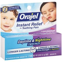 """Orajel Daytime/Nightime Oral Pain Reliever Twin Pack - Teething necessity. Skip the """"naturals"""" brand of orajel, it doesn't work as effectively."""
