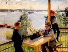 Albert Edelfelt - Eklöfin pojat Villa Sjökullan kuistilla 1890