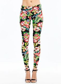 Tropical Floral Leggings . Perfect with a black peplum shirt!