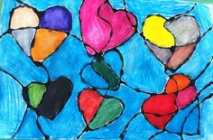 Valentine's Day Stained Glass watercolor with black glue outline