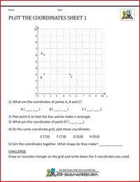 Coordinate worksheets 1st quadrant - plot and write coordinates