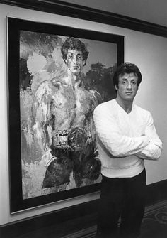 Sylvester Stallone with his painting