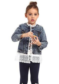 Ephex Fille Veste en Jean Dentelle Manches Longue Manteau Blouson Denim Cow-boy 2-8 ans: Caractéristique : Il y a deux poches devant la…