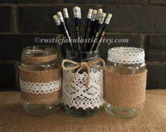 Items similar to Burlap, Lace and Twine Pint Mason Jar Candle Holder or Vase. Rustic wedding decor. on Etsy
