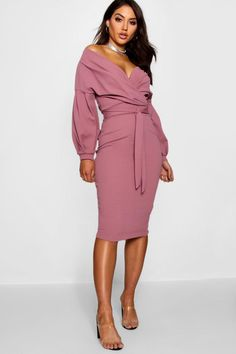 5ee937003932 Click here to find out about the Off the Shoulder Wrap Midi Dress from  Boohoo,