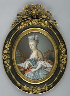 Miniature of Marie Antoinette by Louis Cournerie (1820-1897). Painted between 1840 and 1870. Watercolor on ivory. Cournerie painted pastiches of 18th century portraits. This miniature is presumed to be a copy after an 18th century painting, but the original has not been identified.