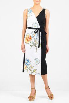 I <3 this Floral applique faux-wrap midi dress from eShakti