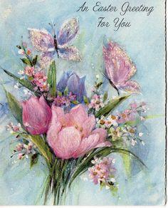 Vtg EASTER Greeting Card GLITTERED w BUTTERFLIES,TULIPS,FLOWER Unused w Envelope