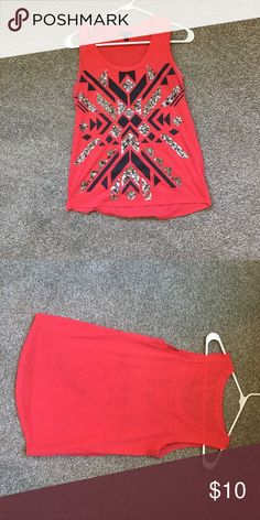 Express XS Bling top. Good condition! Express XS Bling top. Good condition! Can fit a small. Meant to be lightly faded red Express Tops Tank Tops