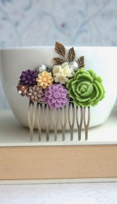 Lime Green, Amethyst Purple, Lavender, Lilac, Ivory, Brass Leaf, Flower Hair Comb. Bridesmaids Gifts. Purple and Green Wedding by Marolsha.
