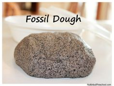 How to Make Fossil Dough.  Great activity for sensory time.  Students will love playing with this textured and scented dough.  Get all the directions and watch a how to video at:  http://www.nuttinbutpreschool.com/how-to-make-fossil-dough/
