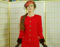 Hot Tomato Red Vintage 70's Suit . Brown Mink Cuffs . Worsted Wool . Military…