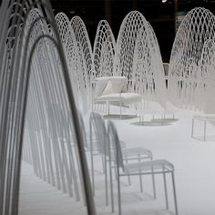 "On arriving at the Stockholm Furniture Fair, we were greeted by ""an invisible landscape of snow capped mountains."" For the tenth year running, a celebrated international designer was invited to create this lounge. This year the honor fell to Oki Sato, Chief Designer and founder of Nendo design studio."