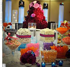 Candy center pieces??? This would be awesome! Kinda takes away from the theme of the night though...