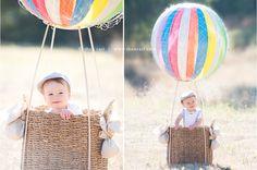 Easy Hot air balloon setup! Dowels, beach ball, net (already bought)