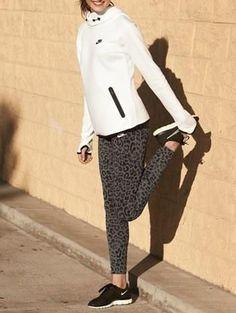 Love the look!  I'd wear a black #Nike fleece ... #Leopard #Print