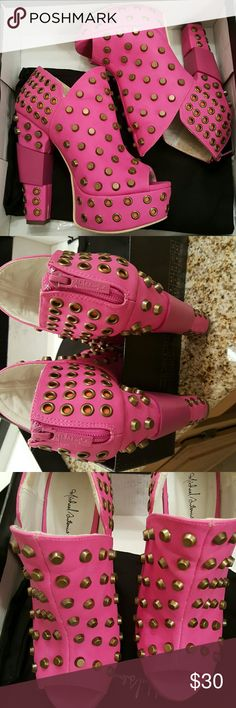 Studded Pink Peep Toe! Theze are Amazing! Worn once, lots of compliments! Shoes Heels