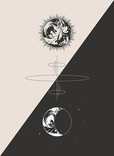 Sun & Moon Cosmic Totem - Minimal Art Print Design by Pineapple Jam