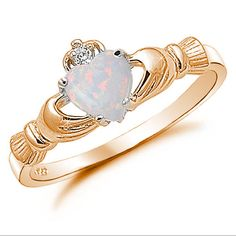 Claddagh Ring Rose Gold 925 Sterling Silver por BlueAppleJewelry