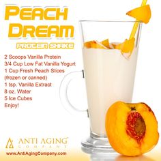 Peach Dream Protein Shake | Protein Shakes and Printable Recipes: http://blog.antiagingcompany.com/peach-dream-protein-shake/