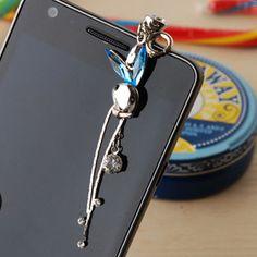Rabbit SWAROVSKI 3.5mm Earphone Ear Cap Dock Dust Plug For iphone 4 galaxy  Made in KOREA !!