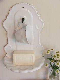 Farmhouse Enamel Soap and Cup Holder  white enamel with black trim