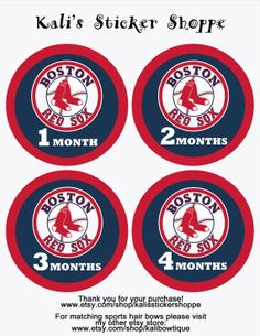Boston Red Sox Baby Monthly Onesie Bodysuit Stickers Month to Month Baby Stickers MLB on Etsy, $10.00