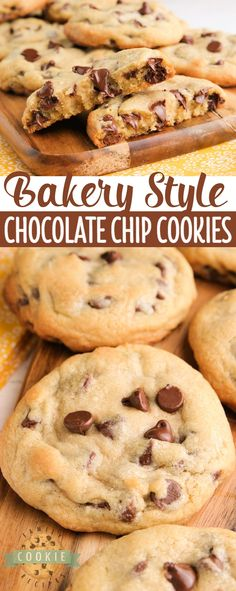 Bakery Style Chocolate Chip Cookies are large, crisp on the very outside and soft in the middle. The perfect chocolate chip cookie recipe that you've been looking for all your life! via @familycookierecipes Best Cookie Recipes, Fruit Recipes, Sweet Recipes, Snack Recipes, Dessert Recipes, Top Recipes, Brownie Recipes, Easy Recipes, Dinner Recipes