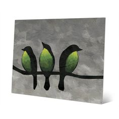 """Click Wall Art 'Three Green Breasted Birds' Print of Painting on Metal Size: 20"""" H x 30"""" W x 0.04"""" D"""