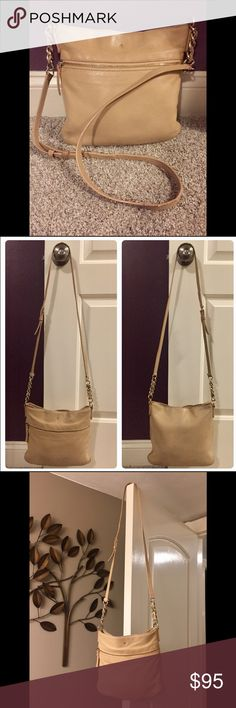 ♠️Kate Spade tan crossbody Say hello to your new everyday bag! So much life left. It's a tan crossbody with visible signs of light wear on strap where it's touching the doorknob as shown in many pics. It's just the edging part that is peeling in that spot. You can see it in the second pic. No cracked leather. I just conditioned the leather so it's ready for its new home! Make me an offer! kate spade Bags Crossbody Bags