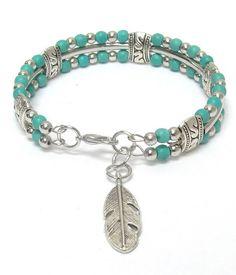 Turquoise Beaded Silver Leaf Bracelet