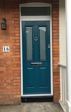 Peacock blue front door home 70 ideas, Front Door Paint Colors, Painted Front Doors, Paint Colors For Home, House Colors, Brown Front Doors, Cottage Front Doors, Traditional Front Doors, Composite Front Door, Garage Door Styles