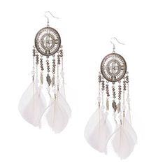 White Feather Pendant Earrings,