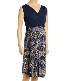 Another great find on #zulily! Navy & Tan Surplice Maternity Dress - Plus Too #zulilyfinds
