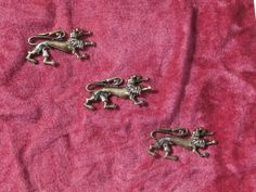 3 Standing Lions Small Metal Craft Pieces