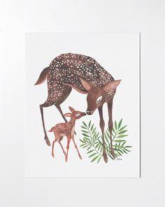 Deer Mom - 8x10 art print by oanabefort on Etsy https://www.etsy.com/ca/listing/175965336/deer-mom-8x10-art-print