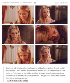 This is why she will always be Buffy. To her, this wasn't just some character she played. She felt Buffy's emotions, and because of that, it was real.
