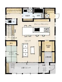 土間リビングのある家の間取り1階 Apartment Layout, Apartment Design, Small House Plans, House Floor Plans, Japanese Apartment, Japanese Style House, Craftsman Floor Plans, Apartment Floor Plans, Sims House