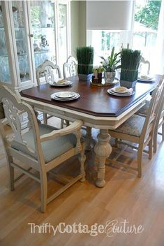 Jacobean dining room set painted with Anne Sloan Chalk Paint® in Country Grey & Old White! - Thrifty Cottage Couture