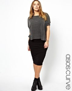 Looser top with a fitted/ bodycon skirt is super cute