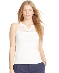 ddb5e50f58e Lauren Ralph Lauren Plus Size Lace-Trim Tank Top - Tops - Plus Sizes -  Macy s