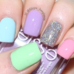 Pastel nails – The Best Nail Designs – Nail Polish Colors & Trends Fancy Nails, Trendy Nails, Sparkle Nails, Glitter Nails, Shellac Nails, Nail Polish, Gel Manicure, Hair And Nails, My Nails