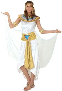 Buy ladies white egyptian cleopatra queen of the nile fancy dress costume - Largest online fancy dress range in the UK - Price Guarantee & FREE Delivery